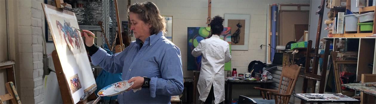 Schilderles bij Marcelle Schoenmaker in 't Atelier in Blaricum