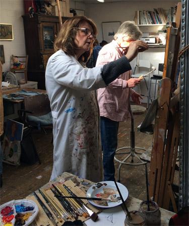 Schilderles van Marcelle Schoenmaker in het gezelligste atelier van Blaricum